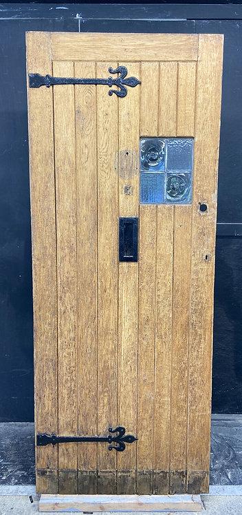 SOLID OAK COTTAGE FRONT DOOR OLD PERIOD ANTIQUE LEADED RECLAIMED HARDWOOD 1880