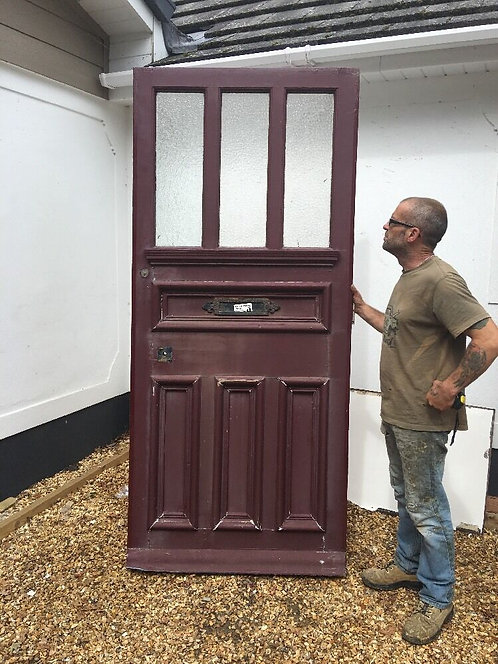 V V LARGE TALL VICTORIAN FRONT DOOR RECLAIMED OLD PERIOD ANTIQUE WOOD GLASS PINE