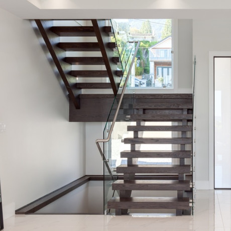 Caspio Glass Staircase Glass Railing With Continuous Welded Handrail