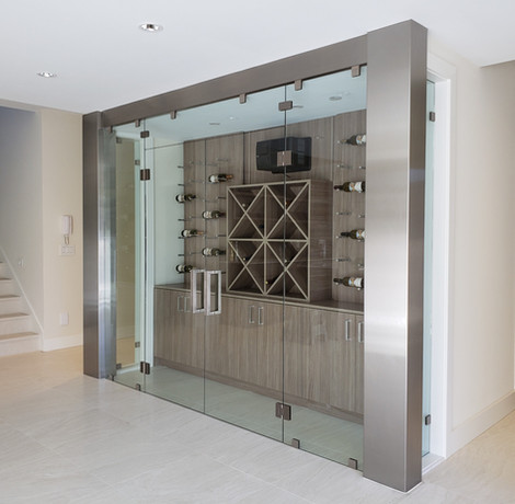 Caspio Glass Wine Cellar With Stainless Steel Wall Frame