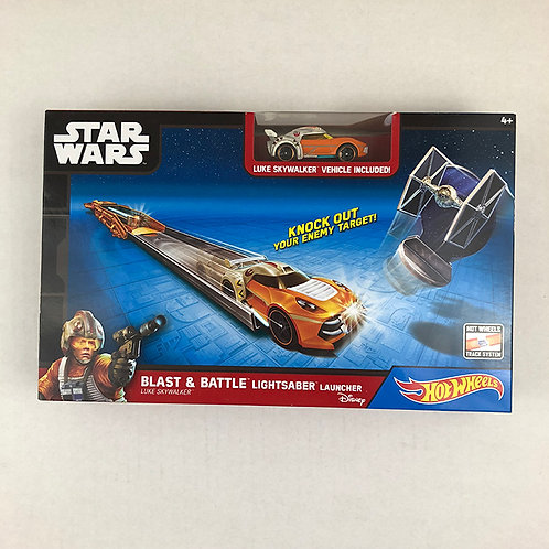 Star Wars Hot Wheels Blast & Battle Lightsaber Launcher Luke Skywalker Vehicle