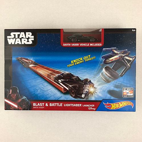 Star Wars Hot Wheels Blast & Battle Lightsaber Launcher Darth Vader Vehicle