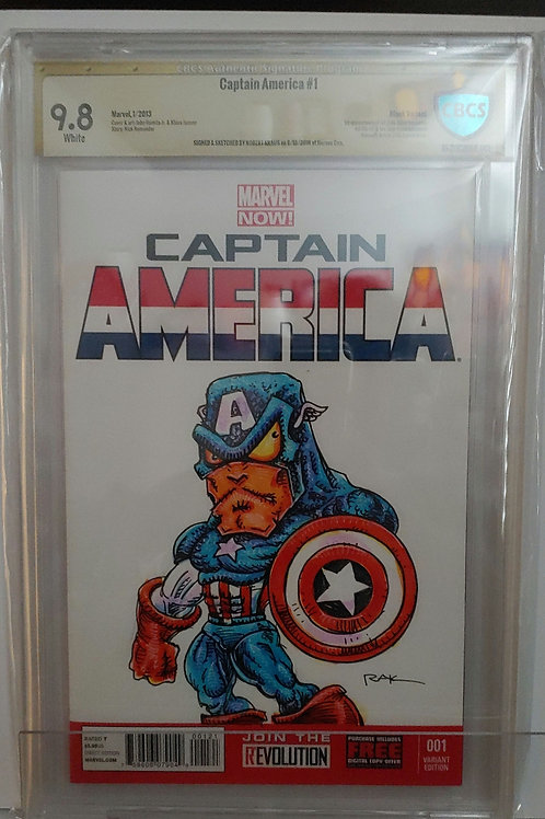 Captain America #1-- blank variant-- art and autograph by RAK