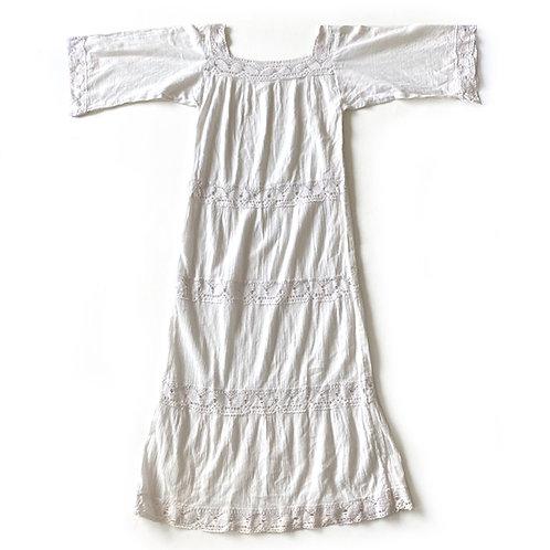 Robe des années 1970 en coton et crochet
