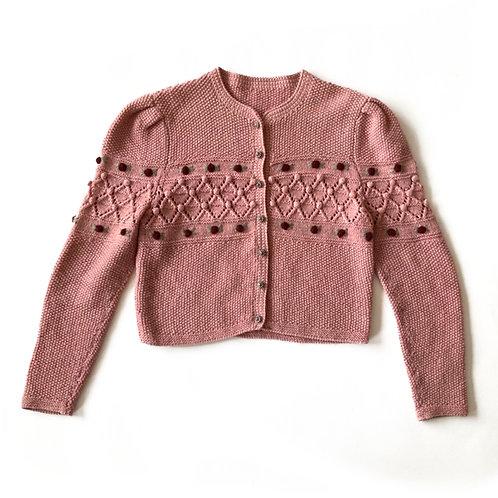 Gilet tricoté en laine avec des roses en relief