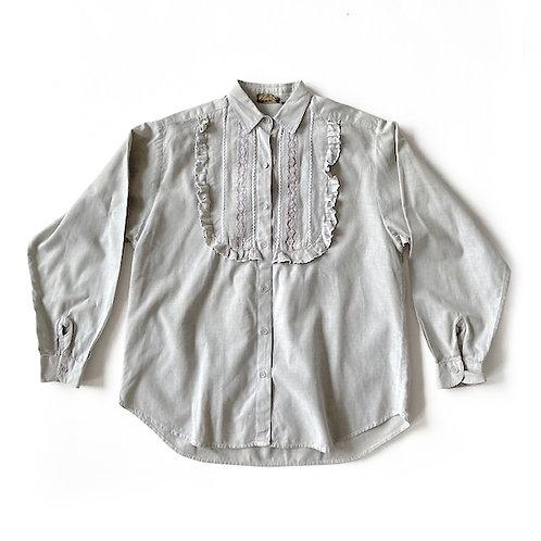 Chemise en coton à plastron brodé
