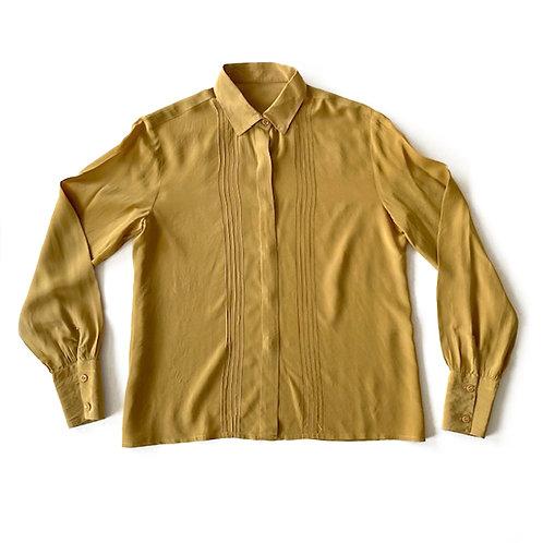Chemise en soie jaune moutarde