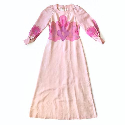Robe des années 60 en soie peinte à la main