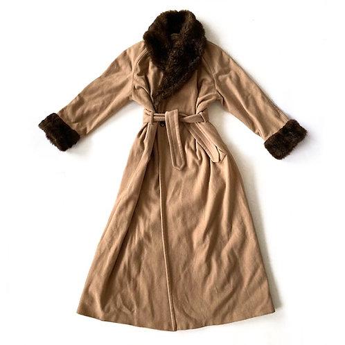 Manteau à col en fausse fourrure Saint Laurent Rive Gauche