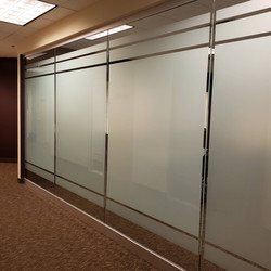 Decorative obscurity film (frosted) installed on office dividers in commercial building in Scottsdal