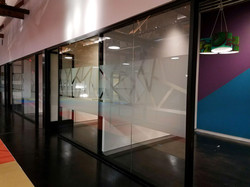 Decorative Film design on office dividers in commercial building in Phoenix, Arizona