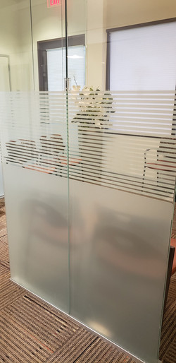 Pinstripe design made with decorative film installed in an office in Peoria, AZ.