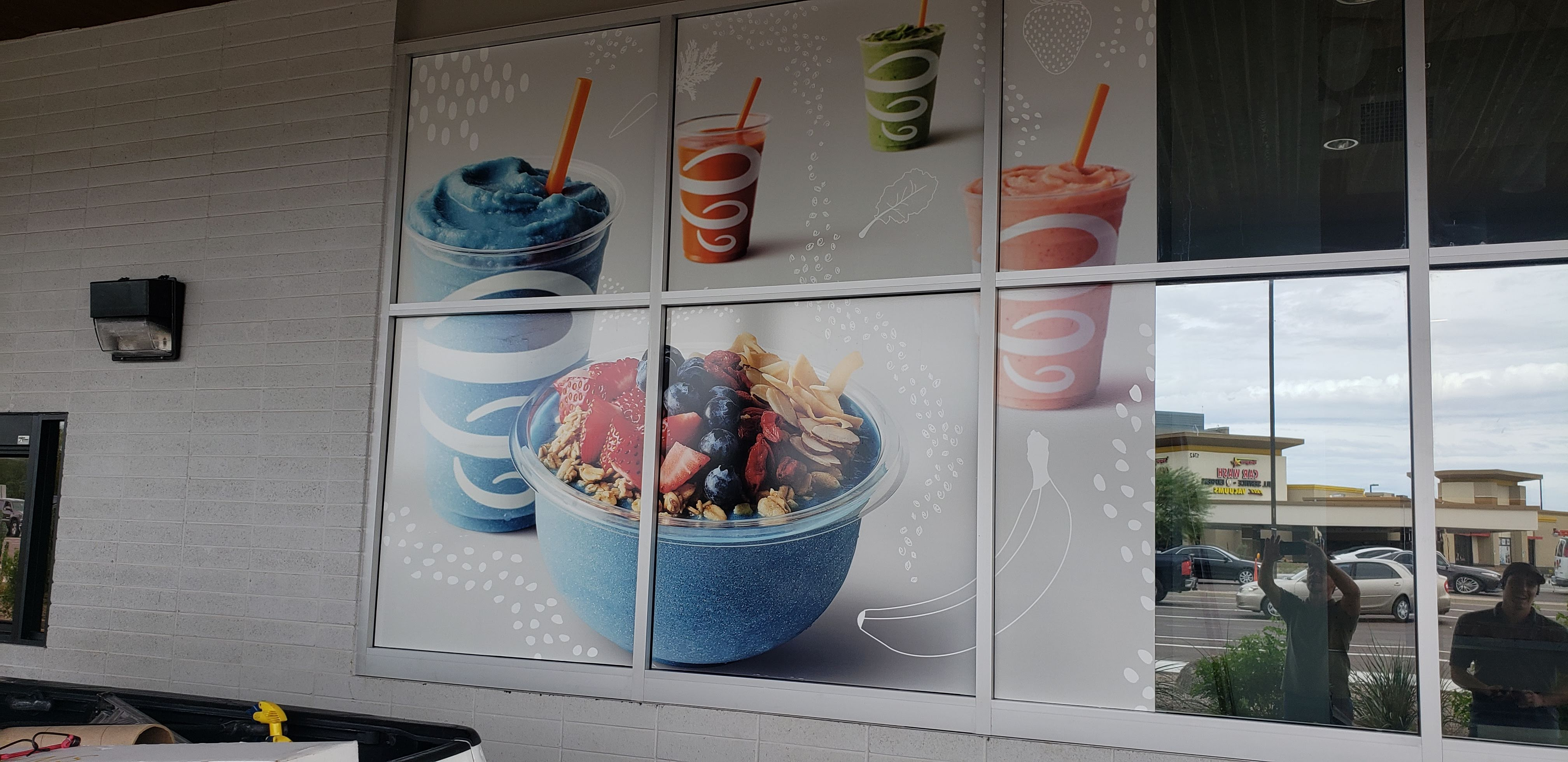 Smoothie shop with custom decorative film design printed out and applied to window. Phoenix Arizona