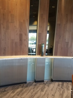 Decorative film installed in waiting area of business. Commercial buildings are great for frosted fi