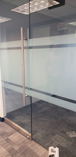 Striped film in a commercial office building in Mesa, AZ. Beautiful glass tinting pattern.