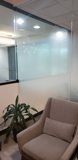 A window treatment that is not truly white out film but blocks vision enough to get the desired effe