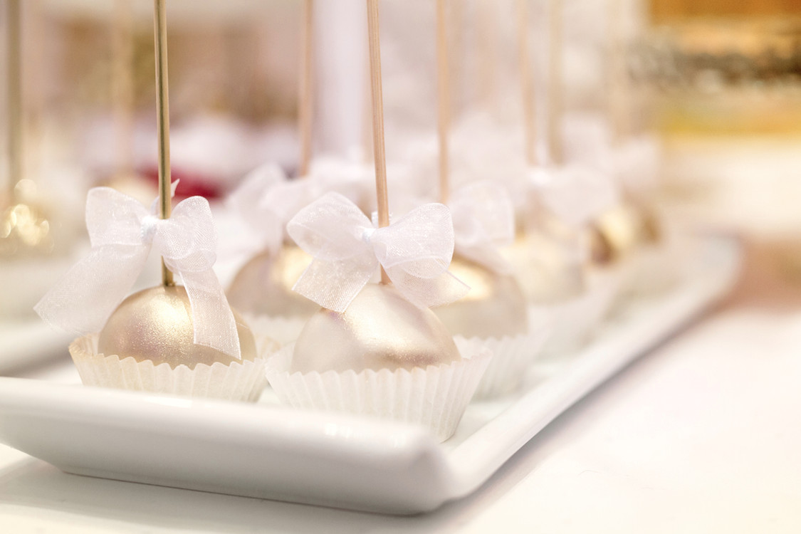 gold-wrapped cake pops