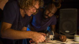 Benoit Bellet and Felinto at the DIY spring-box workshop, proposed by Amber Cortes