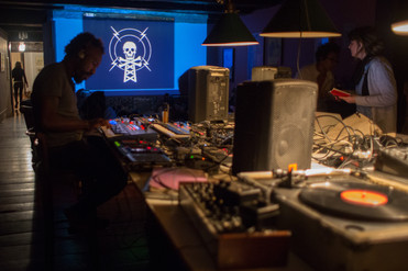 Felinto working (just before Amber Cortes's pirate radio workshop)