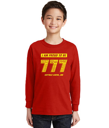 Proud 777 - Youth Long Sleeve T-shirt - Bright Red