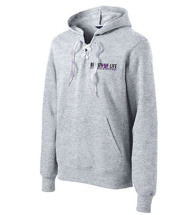 George Floyd lace Up Pullover Hooded Sweatshirt-Athletic Heather