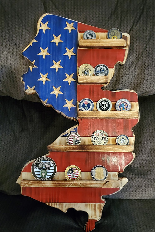 Challenge coin wood Flags
