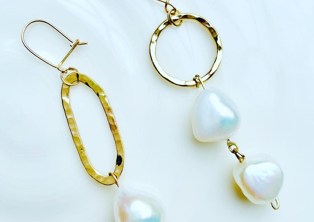 Pearls & Gold mis-matched Earrings