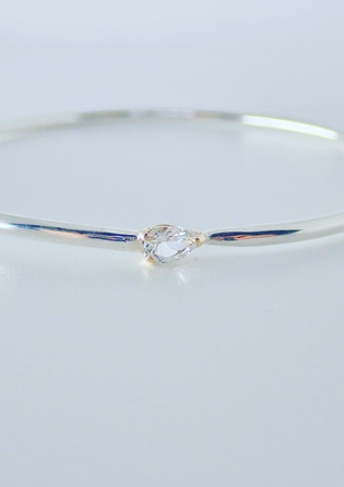 Sterling Silver and White topaz Bangle