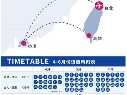 香港往返台灣航班時間表