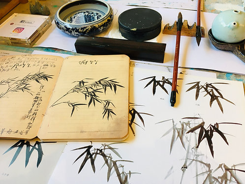 Online Group Beginners Chinese Ink Painting   One-Off Class + Basic Tools Kit