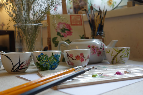 Chinese Teacups Painting