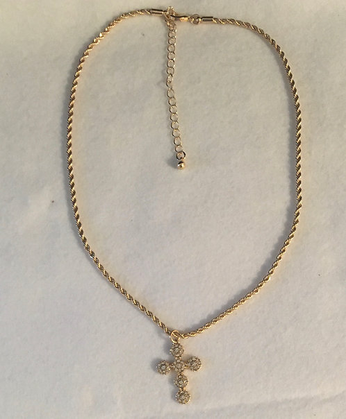 GOLD ROPE NECKLACE W/CROSS