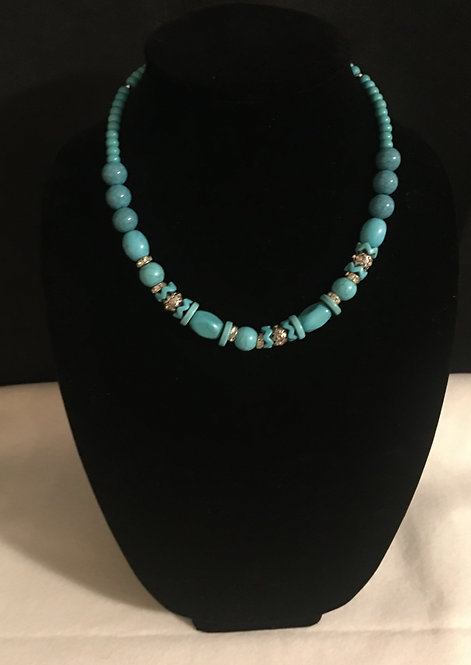 BLUE & SILVER BEADED NEACKLACE
