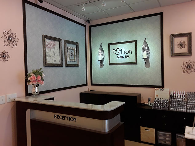 Renovated reception area with logo on back wall