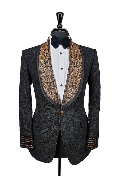 Black Damask Jacquard Tuxedo Jacket