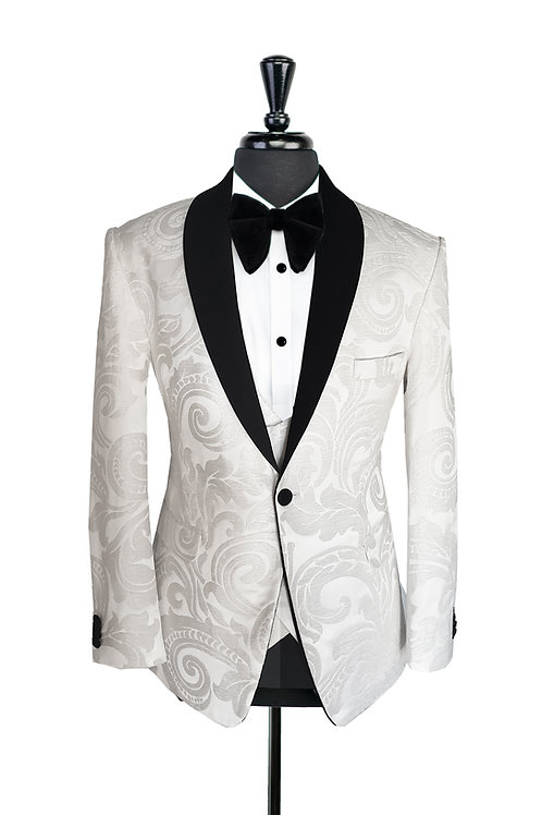 White Swirl Print Jacquard Velvet Jacket