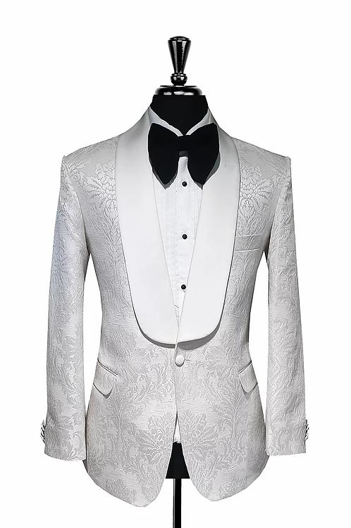 Mitchell- 42 Slim Fit - White Damask Tuxedo Jacket