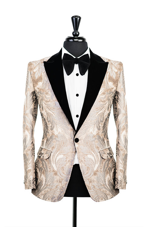 Gold & Grey Leaf Jacquard Velvet Jacket