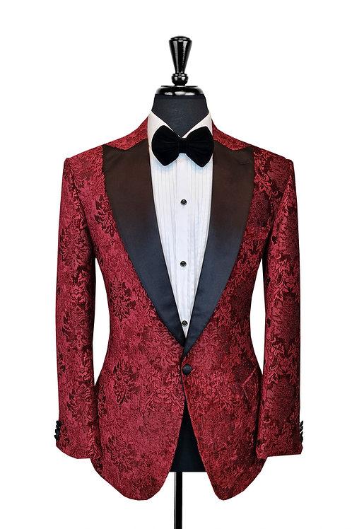 Red Damask Jacquard Tuxedo Jacket