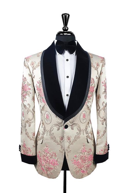 White & Pink Jacquard Tuxedo Jacket