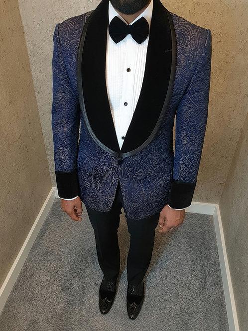 Alain Order- Blue Paisley Jacquard Made To Measure Jacket