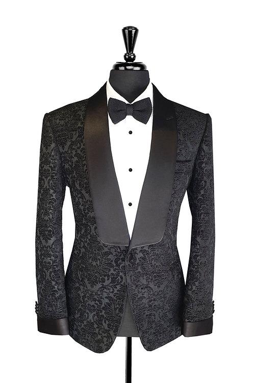 Black Damask Jacquard Velvet Tuxedo Jacket