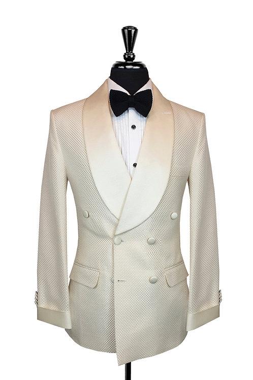 Ivory Jacquard Check Double Breasted Tuxedo Jacket