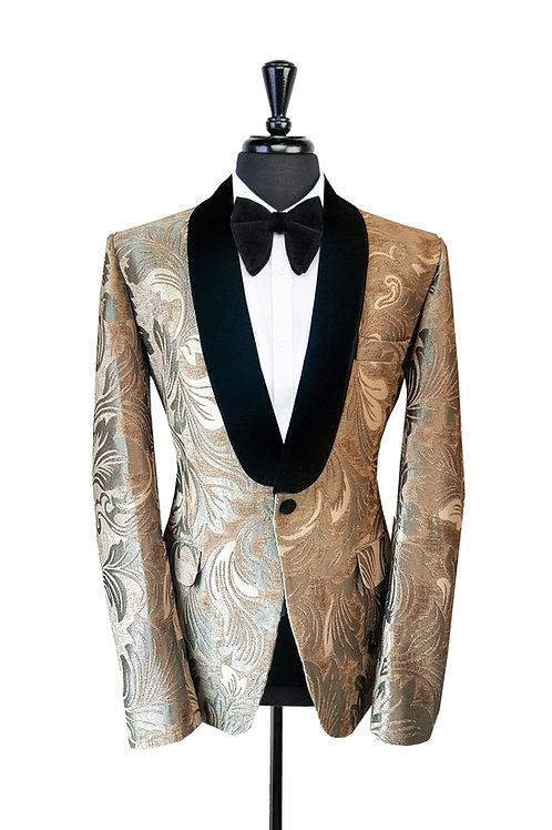 Grey Leaf Jacquard Velvet Jacket