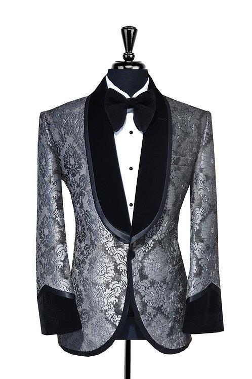 Grey Damask Print Jacquard Velvet Tuxedo Jacket