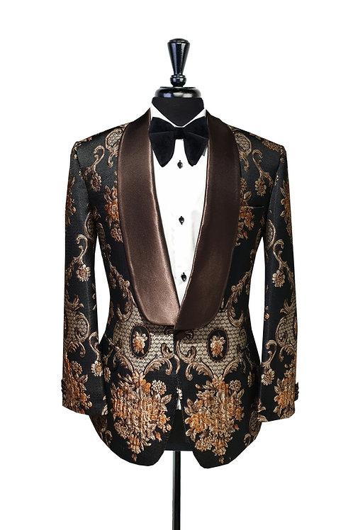 Black & Bronze Damask Floral Jacquard Tuxedo Jacket