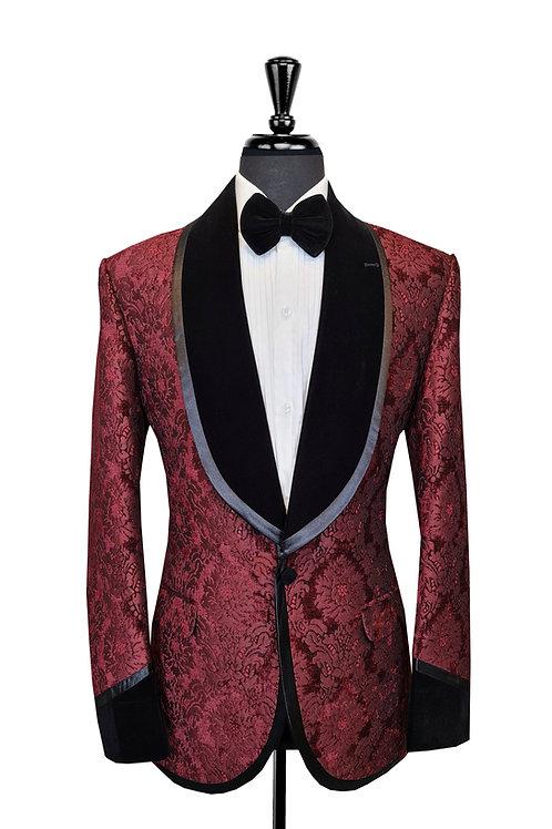 Burgundy Damask Jacquard Tuxedo Jacket