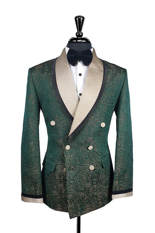 Green Jacquard Double Breasted Tuxedo Jacket