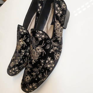 Hand Made Client Request For Black & Gold Loafers