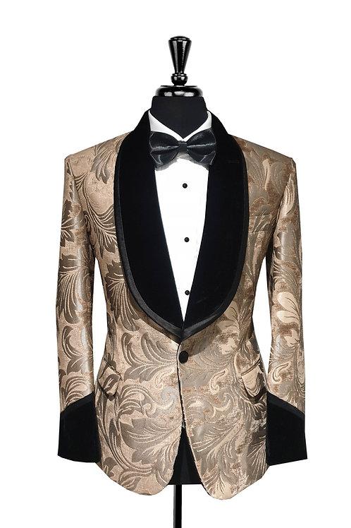 Gold Leaf Print Jacquard Velvet Tuxedo Jacket